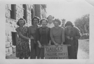 Margaret Laurence (left, then Peggy Wemyss) with Helen Stanley and other students from Union College in Winnipeg, 1944. Image no. ASC02020.