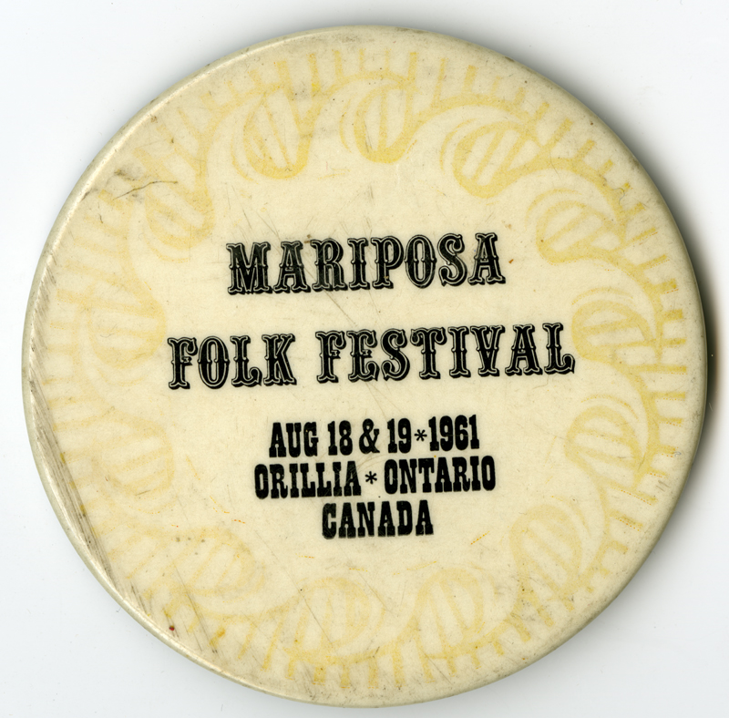Button from the first Mariposa Folk Festival in 1961