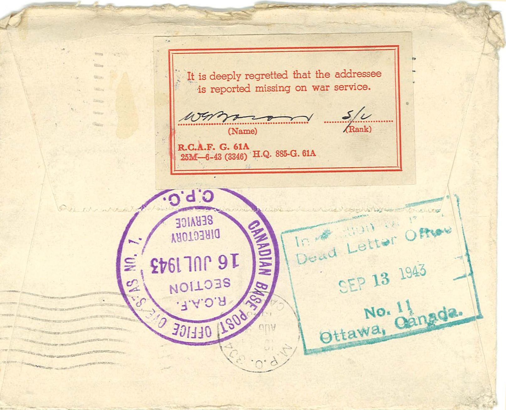 Envelope of a letter sent by Mrs. Fannie Lennox to her son John Watt Lennox, stationed overseas as a fighter pilot. The letter was dated May 3, 1943. On the night of May 4/5, 1943 during his seventh sortie in a Halifax bomber with other allied bombers targeting Dortmund in the Ruhr valley, Lennox and his crew were shot down along the German-Dutch border. John Lennox and his air gunner, Bernard Moody were killed, but the remaining crew survived. Lennox was one month short of his twenty-third birthday.