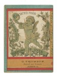 Back cover illustration of Diamond Dye almanac for 1886, call number 12911, featuring a cherub blowing on a trumpet.