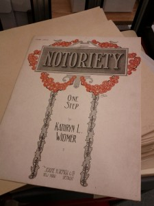 """Title page of Kathryn L. Witmer's """"Notoriety"""" one step, call number JAC01000."""