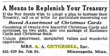 Advertisement for Mrs. A.A. Gutgesell's boxed Christmas cards in Boy's Life magazine, 1928
