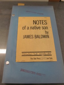 Uncorrected galleys of 1963 Dial Press edition of James Baldwin's Notes of a native son