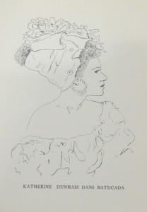 """Portrait of Katherine Dunham from """"Panorama de la danse en mil neuf cent cinquante deux"""" by Magdeleine E. Cluzel."""