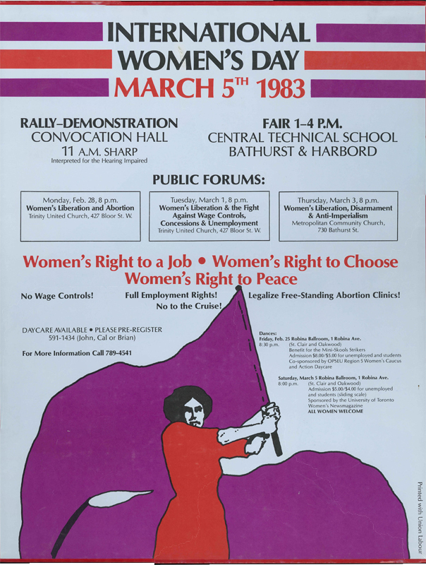 Poster for International Women's Day for March 5, 1983.