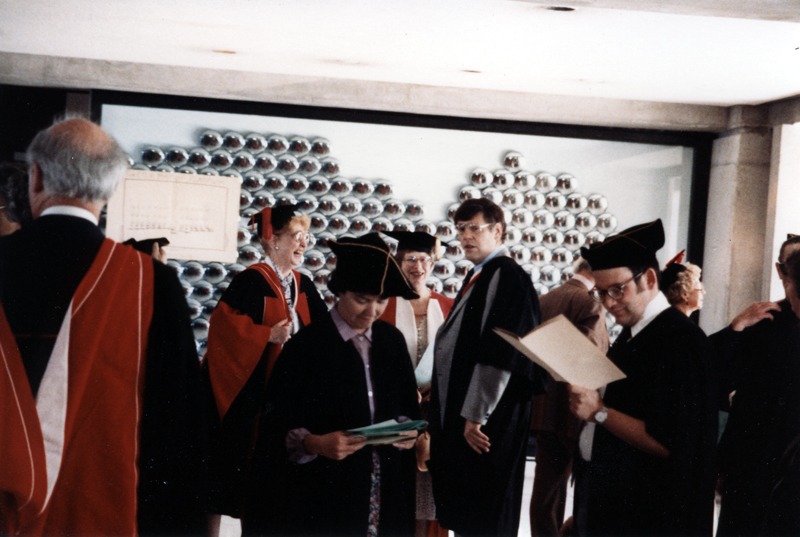 Image of Clara Thomas laughing at reception following honorary doctorate ceremony, Clara Thomas fonds, F0432, image no. ASC00505.