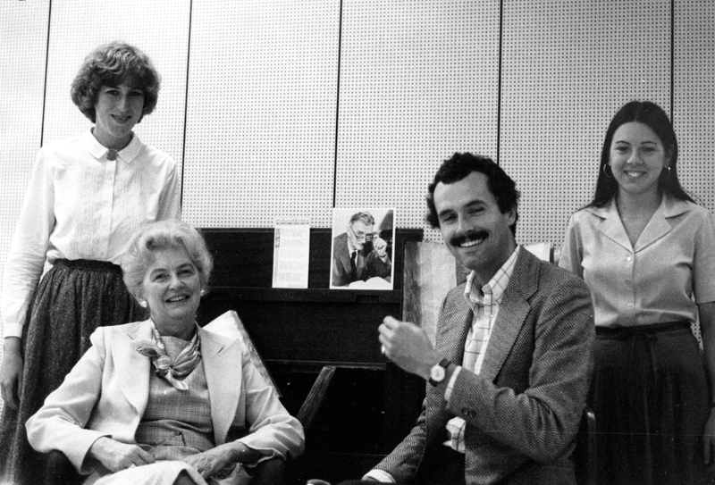 "Image of Clara Thomas and John Lennox with their research assistants following their work on ""William Arthur Deacon: a Canadian literary Life"", [ca. 1982?]. Clara Thomas fonds, F0432, image no. ASC01714."