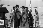 Image of Prof. Clara Thomas (left) and honorary degree recipient, author Margaret Laurence (right), June 1980. Computing & Network Services fonds, F0477, image no. ASC04595.