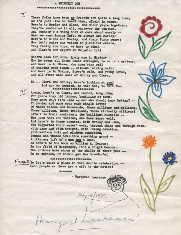 A Friendly Ode by Margaret Laurence poem for Morley and Clara's anniversary 19 May 1982.