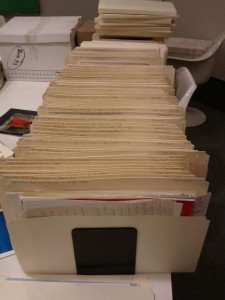Typical scene while processing an archival donation.  This is from the Donald S. MacDonald fonds.  11 February 2014.