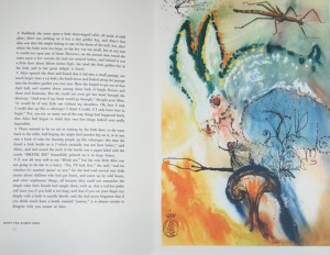 Page 14 and print from Alice's adventures in Wonderland / by Lewis Carroll, with illustrations by Salvador Dali. – New York : Maecenas Press, 1969.