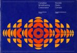 CBC logo: a circular pattern made up of orange, yellow, and red half-moon shapes on a blue background with a big C in the centre.