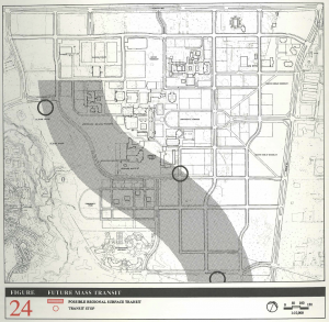 Black and white schema outlining of York University Keele campus form a birds eye view with a grey line depicting the subway underground and two circles representing stations on campus.